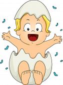 stock photo of revelation  - Illustration Featuring a Baby Boy Popping Out of an Egg During a Gender Reveal - JPG