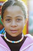 stock photo of cornrow  - Mixed Race girl with cornrows - JPG