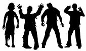 picture of zombie  - Black silhouettes of zombies isolated on white - JPG