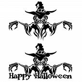 picture of warlock  - Halloween Graphic of Black Witch or Warlock on White Background - JPG