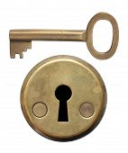 picture of keyholes  - Key and keyhole on white background - JPG