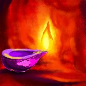 stock photo of dharma  - vector illustration of holy diya for Diwali festival - JPG