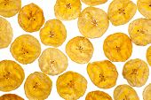 image of plantain  - Platano plantain chips on white background close up - JPG