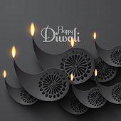 stock photo of diya  - Vector Paper Diwali Diya  - JPG