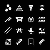 foto of snooker  - Set icons of billiards snooker and pool isolated on black - JPG