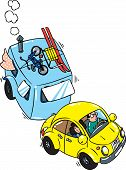 pic of beetle car  - Children vector illustration of small yellow car with trailer - JPG