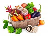 image of root-crops  - Harvest vegetables in wooden basket - JPG