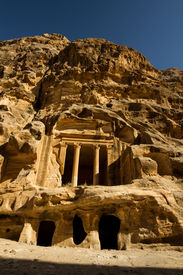pic of camel-cart  - The ancient ruins of Little Petra an archaeological site near the bigger site of Petra Jordan - JPG