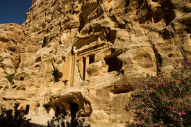 image of camel-cart  - Detail of ancient ruins carved in the rock at Little Petra an archaeological site near the bigger site of Petra Jordan - JPG