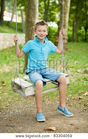 A Boy On A Swing Ina Late Summer Afternoon