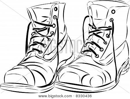 Vector tattoo style boots.