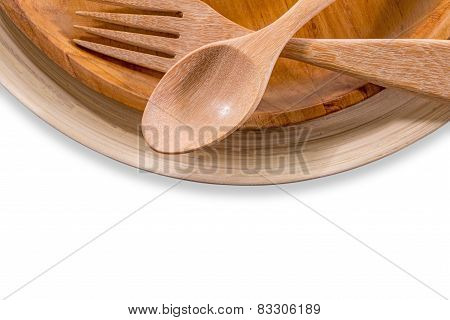 Set Of Fork,spoon And Dish Wood Isolated Over White