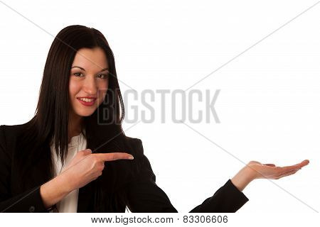 Beautiful Asian Business Woman Pointing Into Copy Space - Sales Person Advertising A Product Isolate