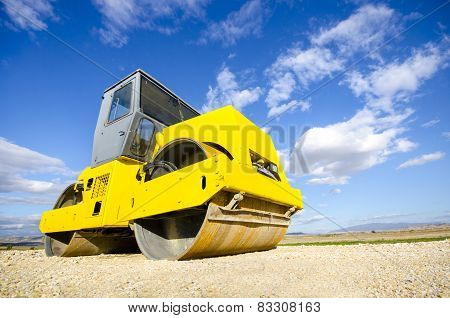 roller compactor at road construction