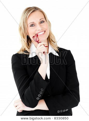 Radiant Businesswoman With Glasses Smiling At The Camera