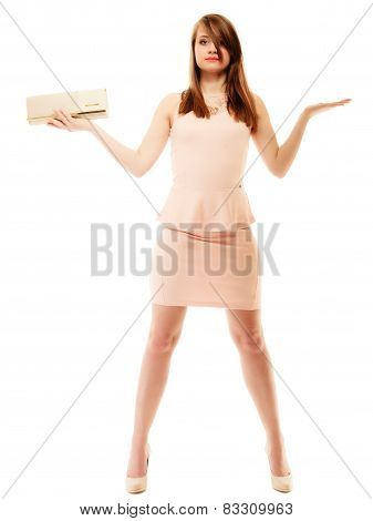 Elegance. Full Length Of Girl With Handbag And Copy Space