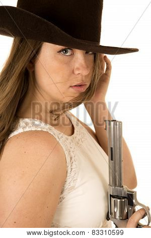 Tough Cowgirl Holding Pistol Staring Down Expression On Camera