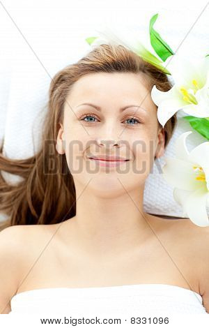 Pretty Young Woman Lying On A Massage Table