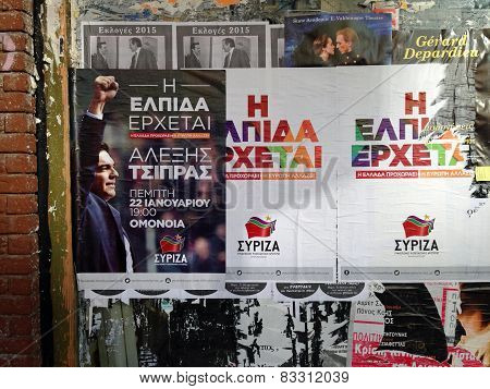 Syriza posters, Athens