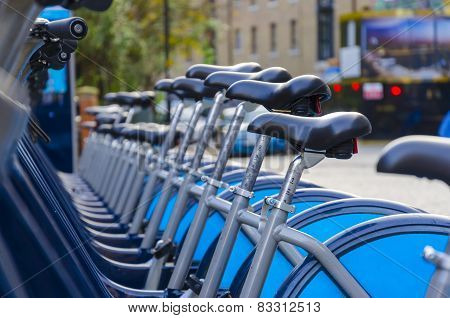 A row of hire bikes in London
