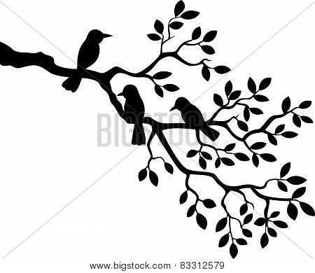 Cartoon tree branch with bird silhouette