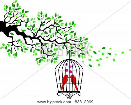 Tree silhouette with bird cartoon in a cage