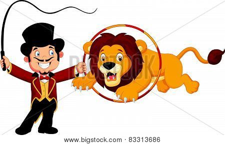 Cartoon lion jumping through ring