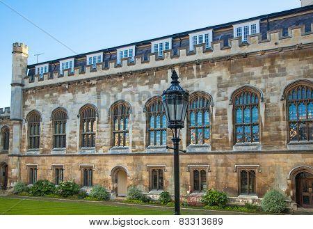 CAMBRIDGE, UK - JANUARY 18, 2015: Pembroke college, university of Cambridge. The inner courtyard wit