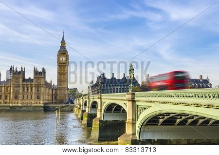 Beautiful view of Westminster Bridge and Houses of Parliament with Thames river