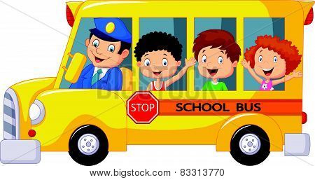 Happy children cartoon on a school bus