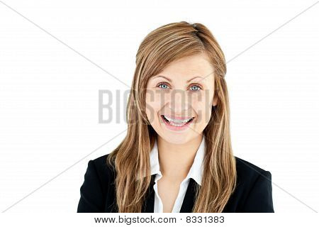 Joyful Young Businesswoman Smiling At The Camera