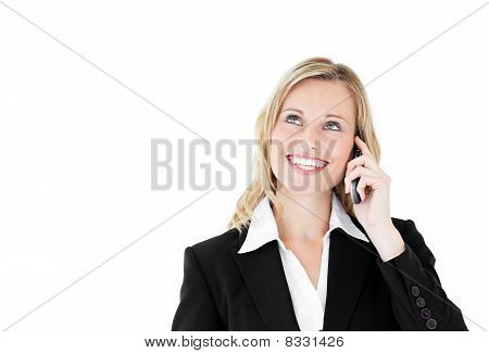 Delighted Caucasian Businesswoman Talking On Phone