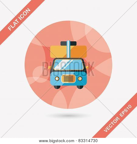 Caravan Car Flat Icon With Long Shadow