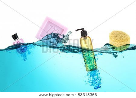 Collage of bath accessories in water