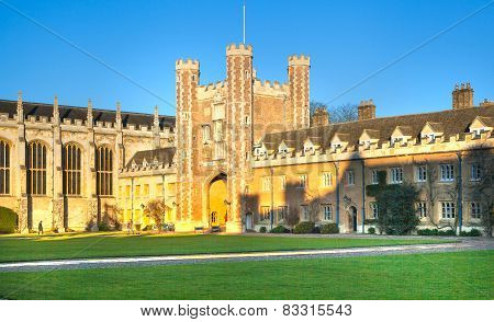 CAMBRIDGE, UK - JANUARY 18, 2015: Trinity college inner yard, est. 1546