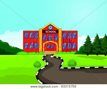 Cartoon school building background