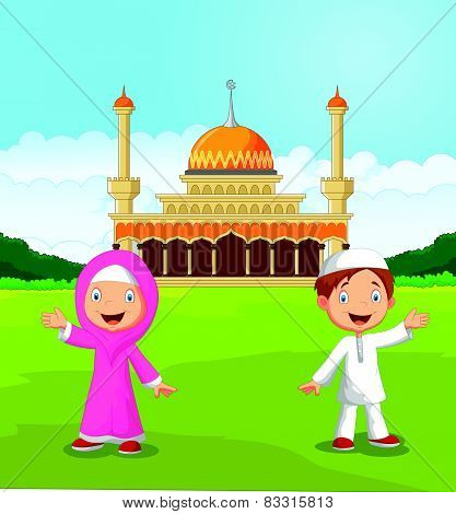 Happy cartoon Muslim kids waving hand in front of mosque