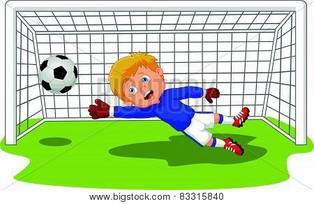 Cartoon Soccer football goalie keeper saving a goal