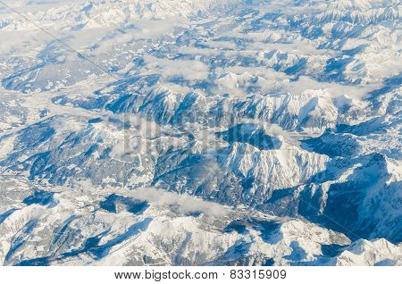 Aerial view of snow capped the Alps