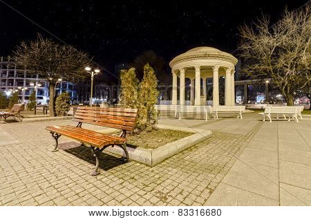 Bench and a Monument in Skopje, Macedonia