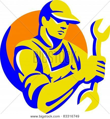 Mechanic Holding Spanner Wrench Retro