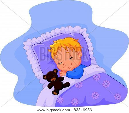 Cartoon baby sleeping with teddy bear