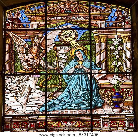 Annunciation Mary Angel Gabriel Stained Glass Old Basilica Guadalupe Mexico City Mexico