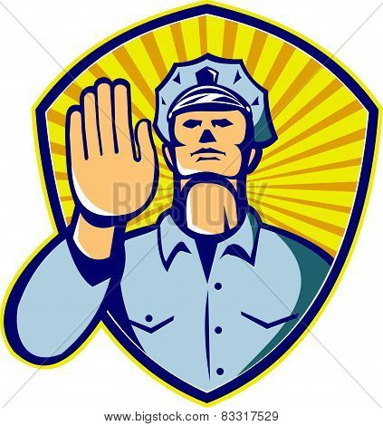 Policeman Police Officer Hand Stop Shield