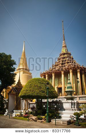 Wat Phra Kaeo, Temple of the Emerald Buddha and the home of the Thai King. Wat Phra Kaeo is one of Bangkok's most famous tourist sites and it was built in 1782 at Bangkok, Thailand.