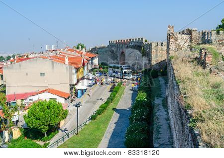 Greece, Thessaloniki, View From White Tower On The Narrow Street Near The Castle Walls