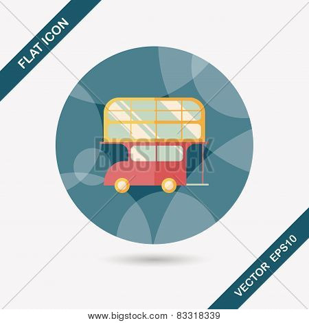 Transportation Bus Flat Icon With Long Shadow