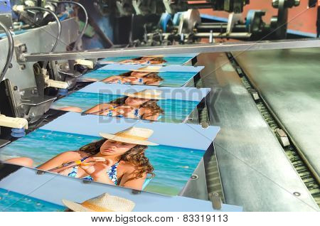 Book, magazine, catalog production line into press plant house