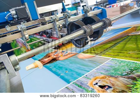 offset printing machine during production