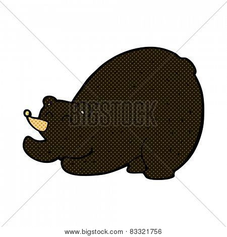 retro comic book style cartoon stretching black bear